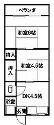 大阪府八尾市陽光園2丁目の賃貸マンションの間取り
