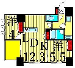 JR山手線 日暮里駅 徒歩6分の賃貸マンション 9階2LDKの間取り