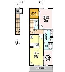 東京都練馬区大泉学園町6丁目の賃貸アパートの間取り