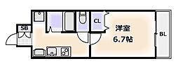 ジュネーゼグラン難波ミラージュ[12階]の間取り