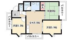 愛知県名古屋市守山区大字大森2丁目の賃貸アパートの間取り