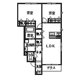 大阪府八尾市上之島町北2丁目の賃貸アパートの間取り