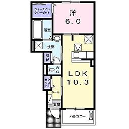 大阪モノレール彩都線 豊川駅 徒歩24分の賃貸アパート 1階1LDKの間取り