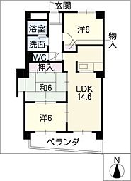 ファミーユ植田東[7階]の間取り