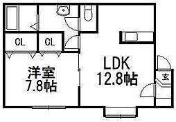 北海道札幌市手稲区西宮の沢五条1丁目の賃貸アパートの間取り