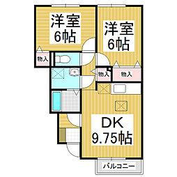 グランモア南松島 1階2DKの間取り