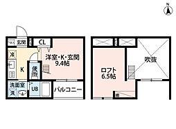 愛知県名古屋市北区大曽根4丁目の賃貸アパートの間取り