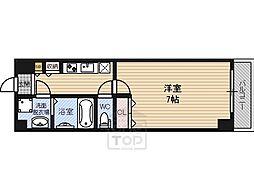 マッシーモ鶴見 4階1Kの間取り