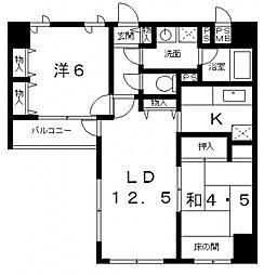 日宝ライフ十二軒町[5階]の間取り