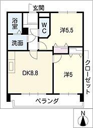 日映マンションⅢ[9階]の間取り