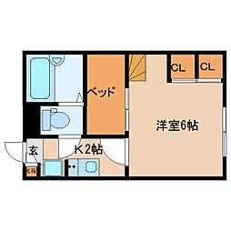 近鉄京都線 山田川駅 徒歩20分の賃貸マンション 1階1Kの間取り