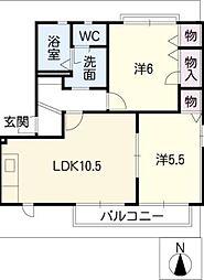 ファミーユC棟[2階]の間取り
