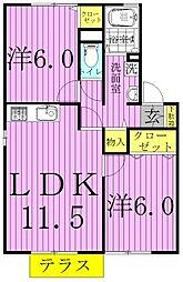 千葉県野田市花井の賃貸アパートの間取り