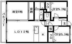 グランコート竜禅寺[606号室]の間取り
