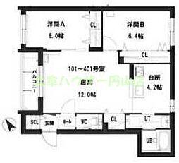 仮)グランメール 宮の沢2-1II 2階2LDKの間取り