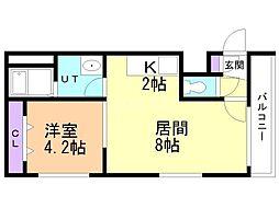 Steady State Asabu 2階1LDKの間取り