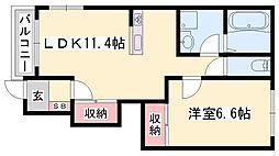JR山陰本線 和田山駅 バス6分 和田山営業所停下車 徒歩3分の賃貸アパート 1階1LDKの間取り