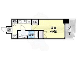 セレニテ福島シェルト 2階1Kの間取り