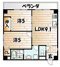 福岡県北九州市八幡西区萩原3丁目の賃貸アパートの間取り