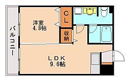 エスコート西片江[2階]の間取り