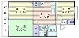 神奈川県横浜市戸塚区平戸町の賃貸アパートの間取り