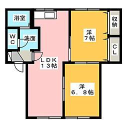 エーデルハイム C[1階]の間取り