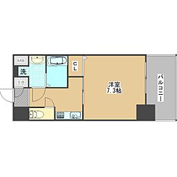 ワールドアイ大阪ドームシティ 13階1Kの間取り