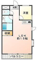 広々LDK15帖 即入居可 ニシケンハイツ一ノ割101号室[1階]の間取り