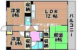 ロビニエ豊成[6階]の間取り