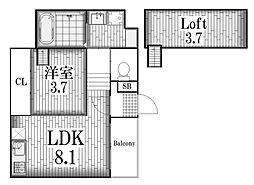 ハーモニーテラス旗屋[2階]の間取り