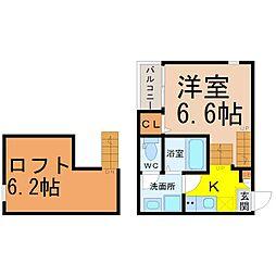 愛知県名古屋市北区中杉町2丁目の賃貸アパートの間取り