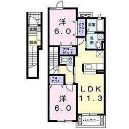 滋賀県栗東市上砥山の賃貸アパートの間取り