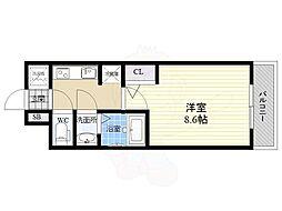S-RESIDENCE江坂Eminence 11階1Kの間取り