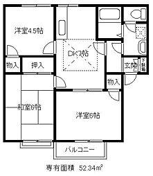 埼玉県川口市安行領根岸の賃貸アパートの間取り