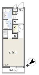 クリシェ 1階ワンルームの間取り