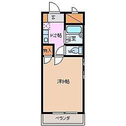 Uマンション阿倉川[2B号室]の間取り