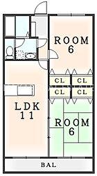 コスモパート II[1階]の間取り