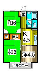 埼玉県さいたま市南区内谷6-の賃貸アパートの間取り