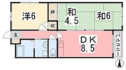 兵庫県姫路市網干区大江島古川町の賃貸アパートの間取り