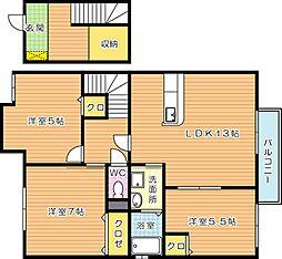 福岡県北九州市八幡西区上の原4丁目の賃貸アパートの間取り