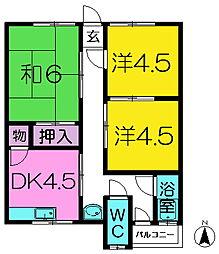 奈良県奈良市学園新田町の賃貸アパートの間取り