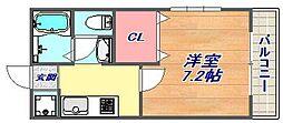 セゾン六甲[102号室]の間取り