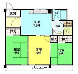 土崎マンション[205号室]の間取り