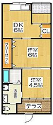 [テラスハウス] 京都府京都市伏見区新町13丁目 の賃貸【/】の間取り