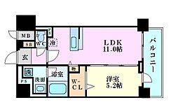 セレーナ・コンフォルト天神橋 9階1LDKの間取り