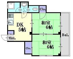 広島県広島市中区江波栄町の賃貸マンションの間取り