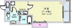 Osaka Metro千日前線 阿波座駅 徒歩3分の賃貸マンション 6階1Kの間取り