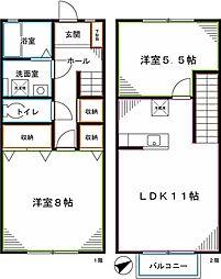 JR中央本線 東小金井駅 徒歩16分の賃貸テラスハウス 2LDKの間取り