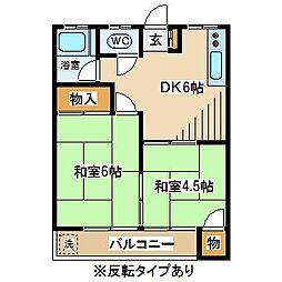 カーサ三岡[2階]の間取り