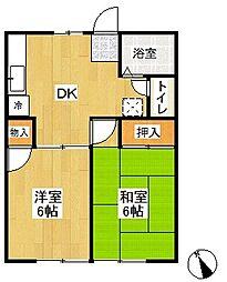 神奈川県横浜市栄区長沼町の賃貸アパートの間取り